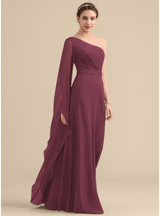 A-Line/Princess One-Shoulder Floor-Length Chiffon Bridesmaid Dress With Ruffle