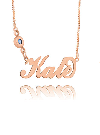 Custom 18k Rose Gold Plated Silver 'Carrie' Style Script Name Necklace Birthstone Necklace -
