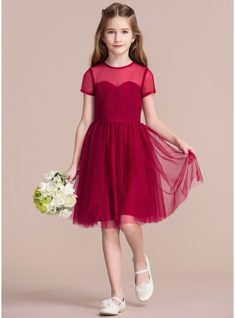 A-Line/Princess Knee-length Flower Girl Dress - Tulle Short Sleeves Scoop Neck With Ruffles