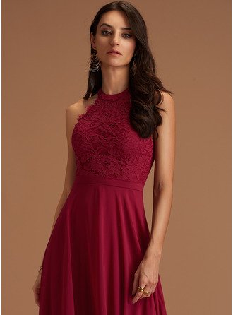 Round Neck Burgundy Chiffon Dresses