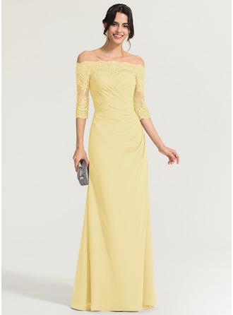 Sheath/Column Off-the-Shoulder Floor-Length Chiffon Evening Dress With Ruffle