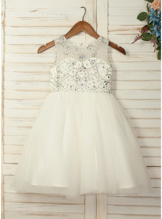 A-Line/Princess Knee-length Flower Girl Dress - Tulle Sleeveless Scoop Neck With Beading/Rhinestone