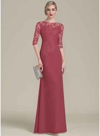 A-Line/Princess Scoop Neck Floor-Length Chiffon Lace Evening Dress