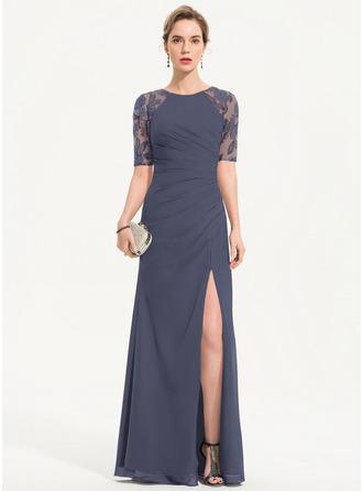 Sheath/Column Scoop Neck Floor-Length Chiffon Evening Dress With Sequins Split Front