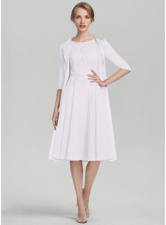 Corte A Decote redondo Coquetel Tecido de seda Renda Vestido para a mãe da noiva
