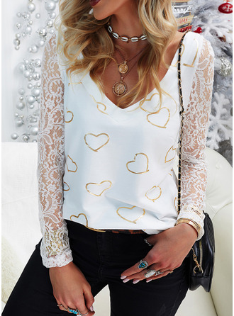 Lace Print Heart V-Neck Long Sleeves Casual Blouses
