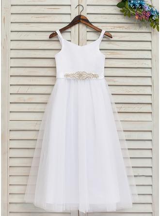 Forme Princesse Longueur cheville Robes à Fleurs pour Filles - Satiné/Tulle Sans manches Bretelles avec Strass (Bande détachable)