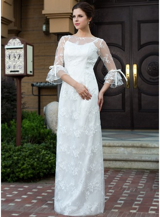 Sheath/Column Scoop Neck Floor-Length Lace Wedding Dress With Bow(s)