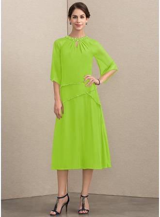 A-Linie/Princess-Linie U-Ausschnitt Wadenlang Chiffon Kleid für die Brautmutter mit Perlstickerei Pailletten