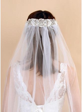 One-tier Cut Edge Fingertip Bridal Veils With Rhinestones/Faux Pearl