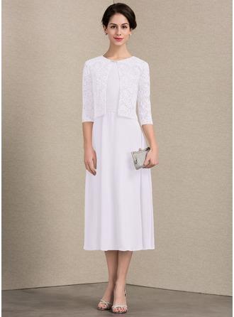 Vestidos princesa/ Formato A Decote redondo Comprimento médio Tecido de seda Vestido para a mãe da noiva com Pregueado