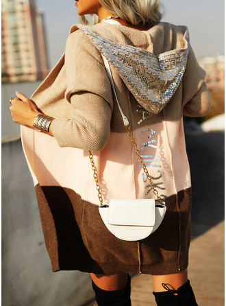 Hooded Casual Sequins Color Block Sweaters
