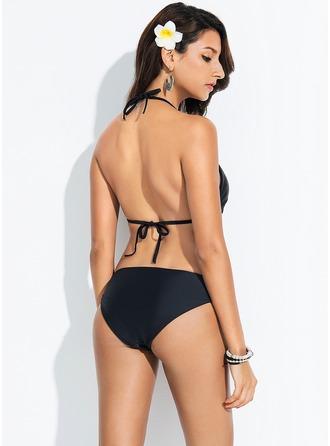 Sexig Solid färg Elastan Bikinier Baddräkt