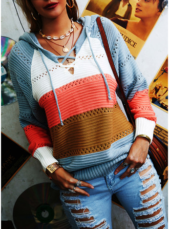 Hooded Casual Color Block Striped Sweaters