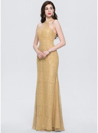 Trumpet/Mermaid Scoop Neck Floor-Length Sequined Prom Dresses