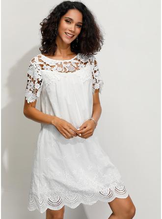 レース 固体 シフトドレス 1/2袖 ミニ カジュアル エレガント Tシャツ ファッションドレス