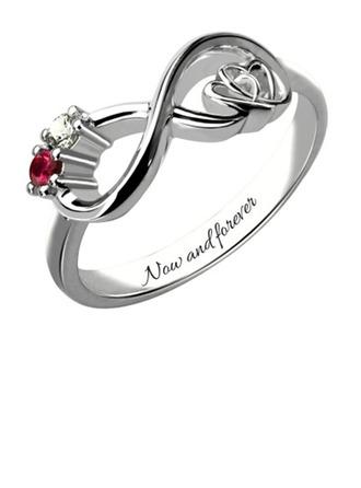 Personalizado Señoras' Elegante con Redondo Cubic zirconia Anillos de nombre Anillos Ella/Niña de las flores
