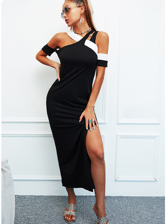 Color Block Bodycon Short Sleeves Maxi Elegant Dresses