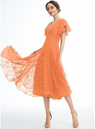 A-Line V-neck Knee-Length Bridesmaid Dress With Ruffle