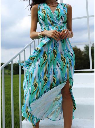 Print A-line Sleeveless Maxi Casual Skater Dresses
