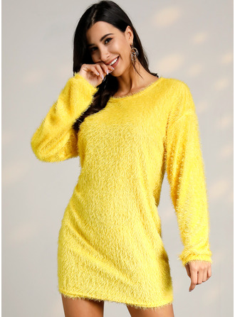 Round Neck Polyester Long Sleeves Solid Sweater Dress Fashion Dresses
