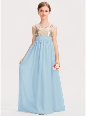 A-Line V-neck Floor-Length Chiffon Sequined Junior Bridesmaid Dress With Ruffle