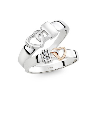 Sterling Silver Heart Couple's Rings - Valentines Gifts