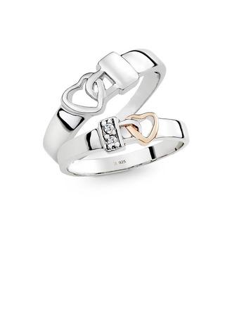 Argent sterling Cœur Les anneaux du couple - Cadeaux Saint Valentin