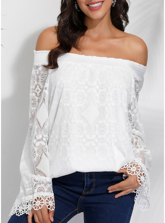 Lace Solid Off the Shoulder Long Sleeves Casual Elegant