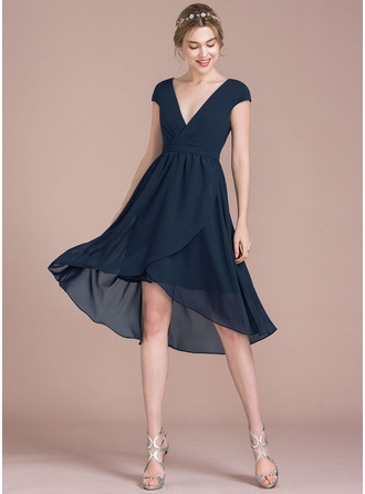 A-Line/Princess V-neck Asymmetrical Chiffon Cocktail Dress