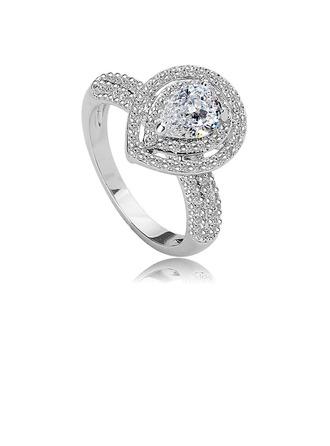 Elegant Copper/Zircon With Rhinestone Ladies' Rings