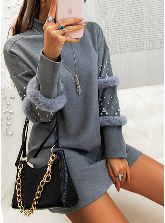 Solid Beaded Shift Long Sleeves Mini Little Black Casual Tunic Dresses