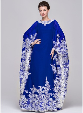 A-Line/Princess Scoop Neck Floor-Length Chiffon Evening Dress With Appliques Lace