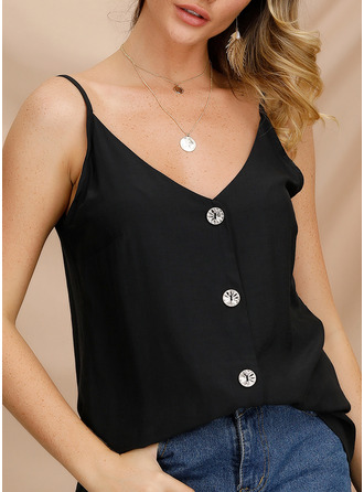 Solid Spaghetti Straps Sleeveless Button Up Casual Sexy Tank Tops