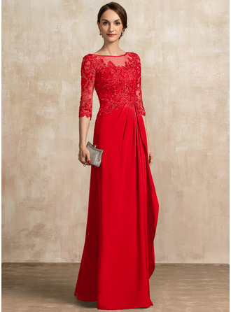 A-Linie U-Ausschnitt Bodenlang Chiffon Spitze Kleid für die Brautmutter mit Perlstickerei Pailletten Gestufte Rüschen