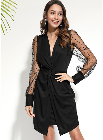 Solid Bodycon Lantern Sleeve Long Sleeves Mini Little Black Party Elegant Dresses