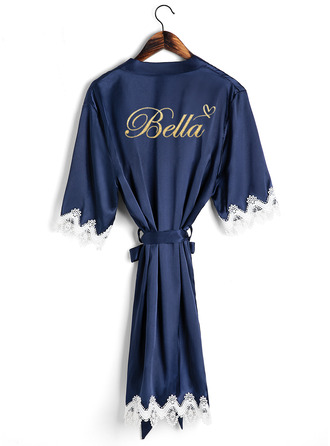 Personalized Charmeuse Bride Bridesmaid Mom Junior Bridesmaid Lace Robes Glitter Print Robes