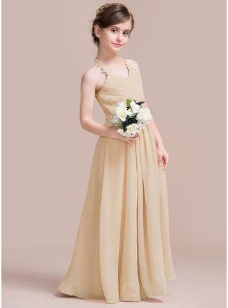 Трапеция/Принцесса V-образный Длина до пола шифон Платье Юнных Подружек Невесты с Рябь Кружева