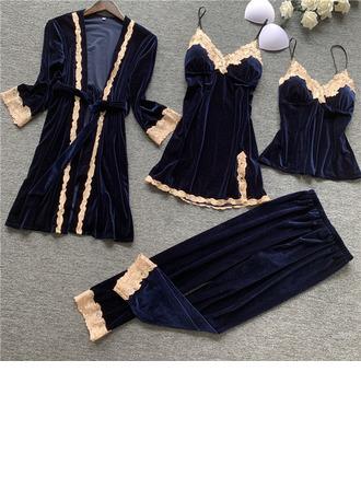 Bruids/Vrouwelijk Elegant Fluwelen nachtkleding Sets