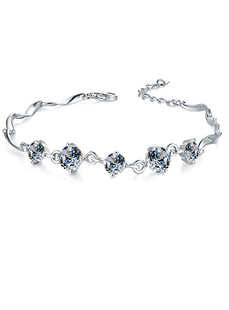 Damer' Nice 925 pund Sterling Försilvrar med Diamond Cylinder Zirkonium Armband Henne/Vänner