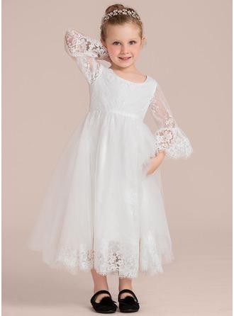 Forme Princesse Longueur cheville Robes à Fleurs pour Filles - Dentelle 1/2 manches Col rond