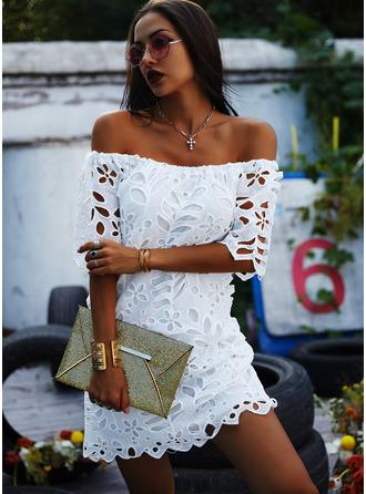 Spets Solid Fodral 3/4 ärmar Mini Den lilla svarta Fritids Elegant Modeklänningar
