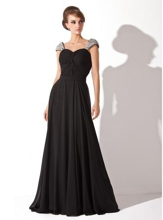 A-Line/Princess Sweetheart Court Train Chiffon Evening Dress With Ruffle Beading Sequins