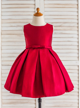 Princesový Po kolena Flower Girl Dress - Satén Bez rukávů Scoop Neck S Volán