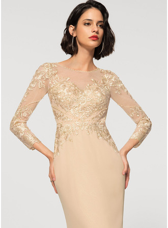 Sheath/Column Scoop Neck Floor-Length Chiffon Lace Evening Dress
