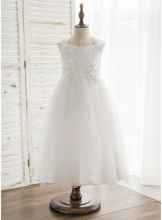 A-Line/Princess Tea-length Flower Girl Dress - Satin/Tulle/Lace Sleeveless V-neck With Bow(s)