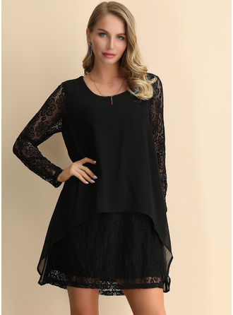 Lace Solid Shift Long Sleeves Mini Little Black Party Elegant Tunic Dresses