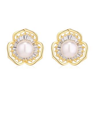 Damen Glänzende Kupfer/Zirkon/Faux-Perlen Faux-Perlen Ohrringe Freunde/Braut/Blume Mädchen