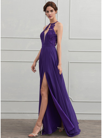 A-Line/Princess Scoop Neck Floor-Length Chiffon Prom Dress With Lace Split Front