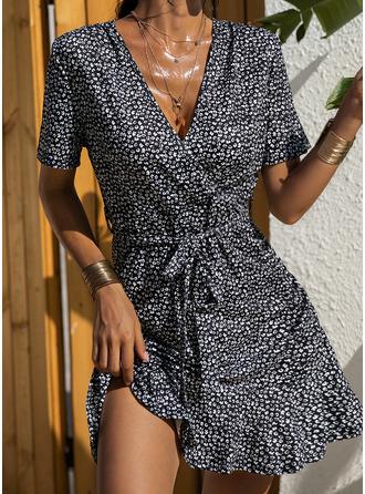 Print Sheath Short Sleeves Mini Casual Elegant Wrap Dresses